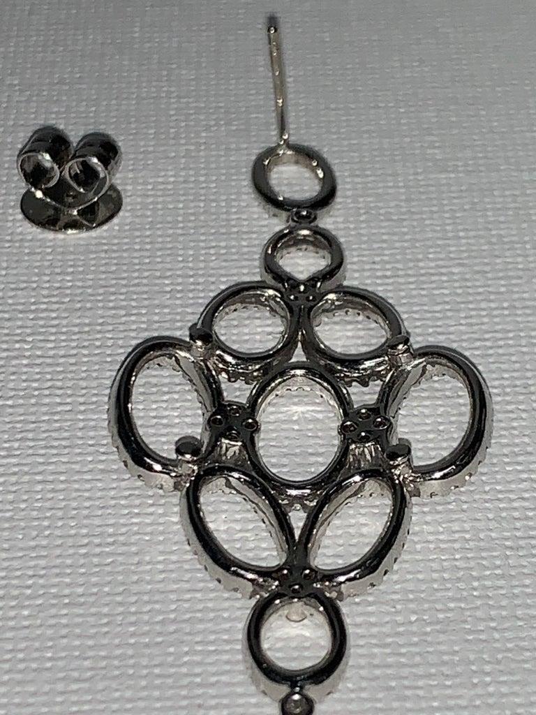 Handmade 2.36 Carat Diamond 18 Karat White Gold Long Dangle Earrings For Sale 2