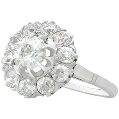 2.36 Carat Diamond and Platinum Cluster Ring, circa 1920
