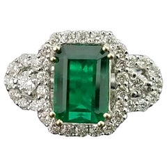 2.36 Carat Emerald and Diamond 18 Karat Gold Engagement Ring