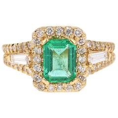 2.36 Carat Emerald Diamond 18 Karat Yellow Gold Engagement Ring GIA Certified