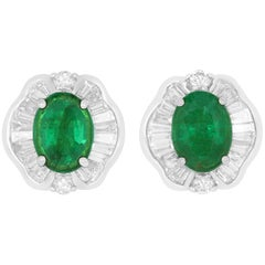 2.36 Carat Oval Emerald and White Diamond Stud Earring
