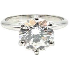 2.36 Carat Round Brilliant Cut GIA Diamond Solitaire Platinum Engagement Ring