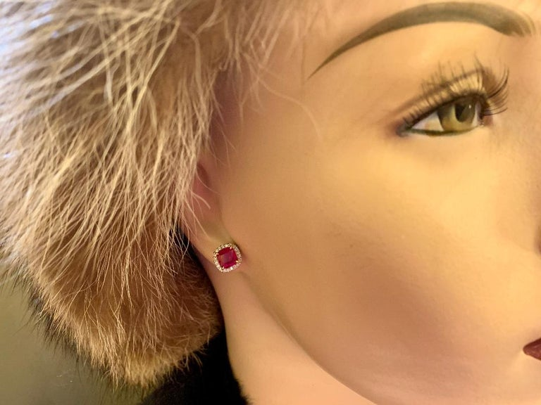 Cushion Cut  2.36 Carat Ruby and Diamond Halo Earrings in Platinum and 18 Karat Yellow Gold For Sale
