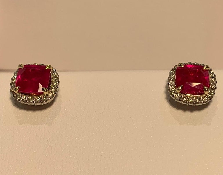 2.36 Carat Ruby and Diamond Halo Earrings in Platinum and 18 Karat Yellow Gold In Good Condition For Sale In Tustin, CA
