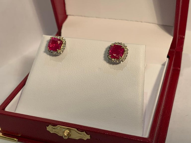 Women's or Men's  2.36 Carat Ruby and Diamond Halo Earrings in Platinum and 18 Karat Yellow Gold For Sale