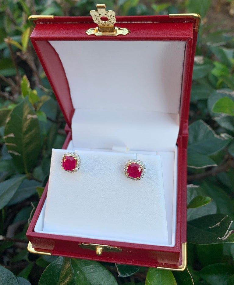 2.36 Carat Ruby and Diamond Halo Earrings in Platinum and 18 Karat Yellow Gold For Sale 3