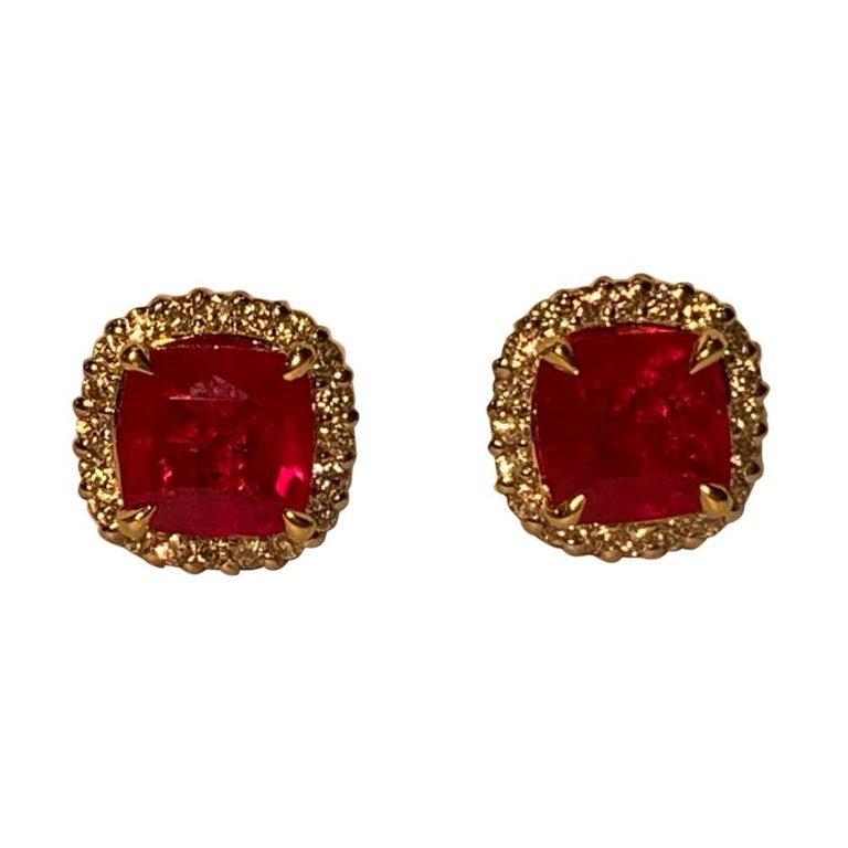 2.36 Carat Ruby and Diamond Halo Earrings in Platinum and 18 Karat Yellow Gold For Sale