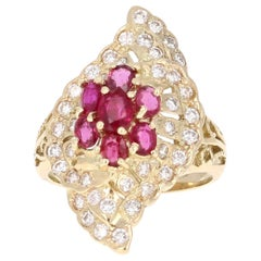 2.36 Carat Ruby Diamond 14 Karat Yellow Gold Ring