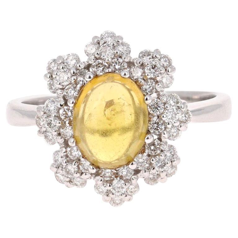 2.36 Carat Tourmaline Diamond 14 Karat White Gold Cocktail Ring