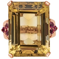 23.62 Carat Golden Citrine and Ruby Cocktail Ring in Rose Gold