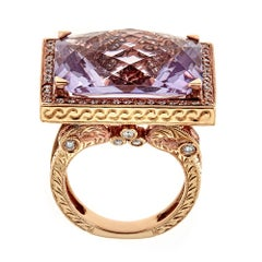 Cushion Cut 23 TCW Vivid Amethyst and Diamond Accent in 18k Rose Gold