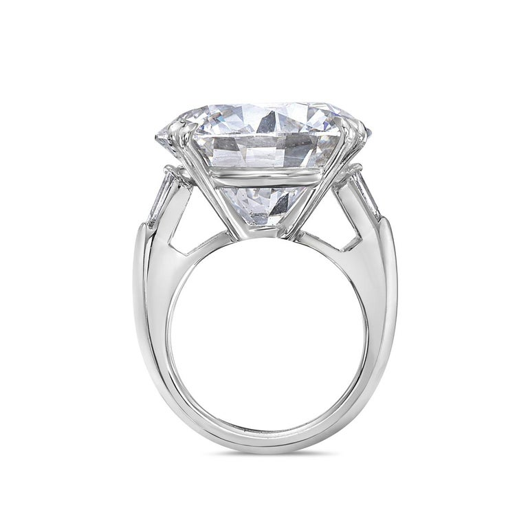 This diamond engagement ring features a 23.69 carat round I SI2 diamond set in platinum. GIA certified. The Diamond is 100% eye clean and full of sparkle. Made in Italy. Size 6. Report No. 5182206523.  Resizeable upon request.  Viewings available in
