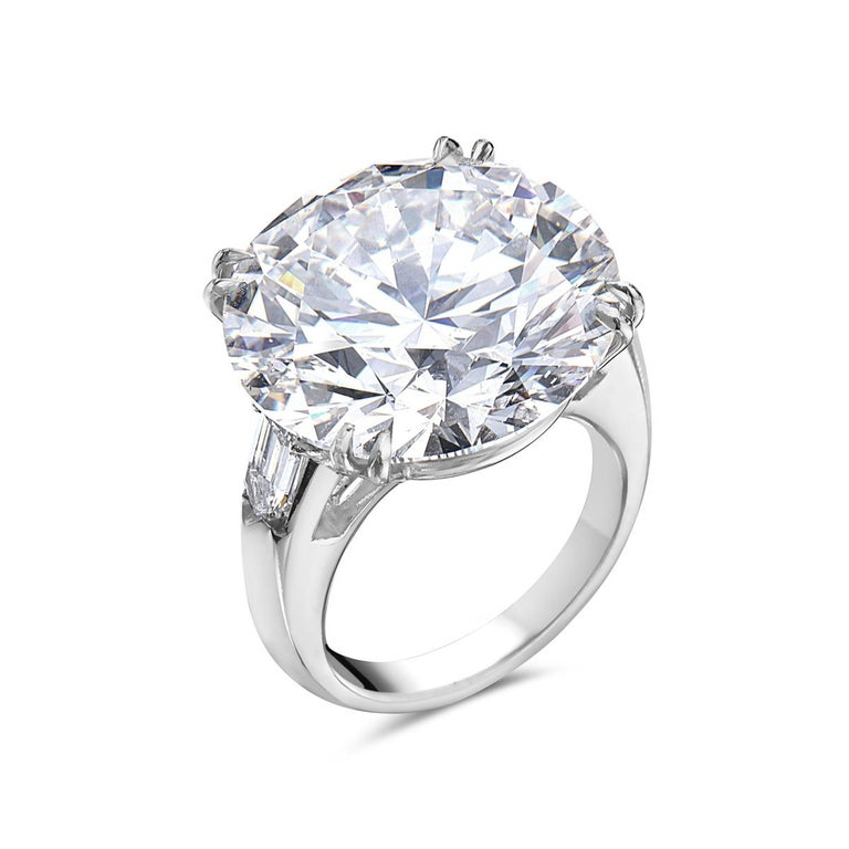 23.69 Carat I SI2 Round GIA Certified Diamond Engagement Ring In New Condition For Sale In New York, NY