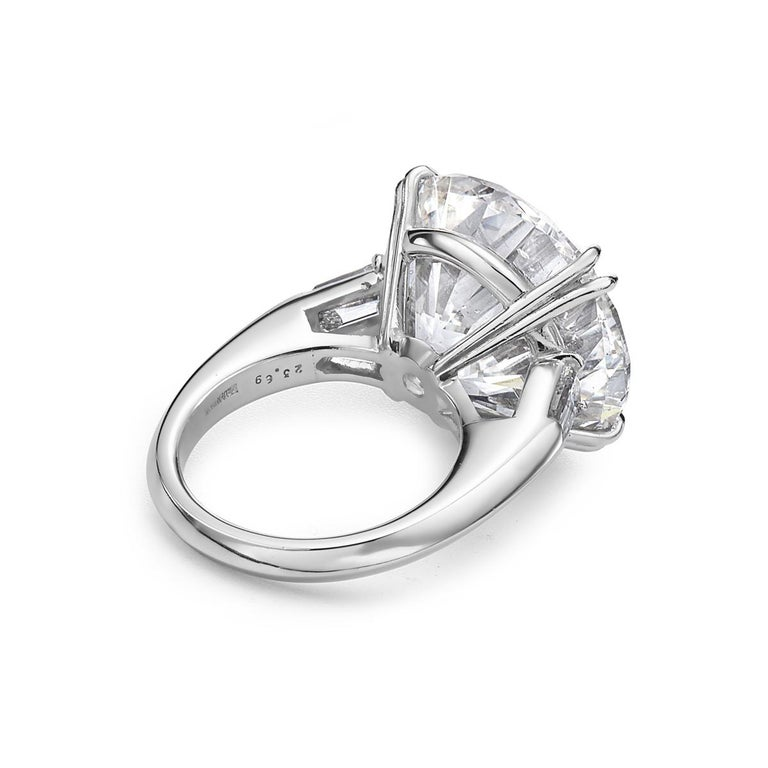 Women's 23.69 Carat I SI2 Round GIA Certified Diamond Engagement Ring For Sale
