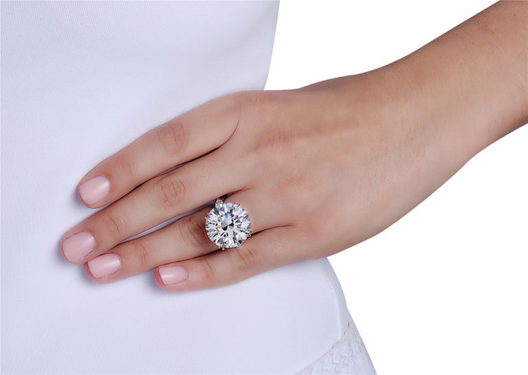 23.69 Carat I SI2 Round GIA Certified Diamond Engagement Ring For Sale 1