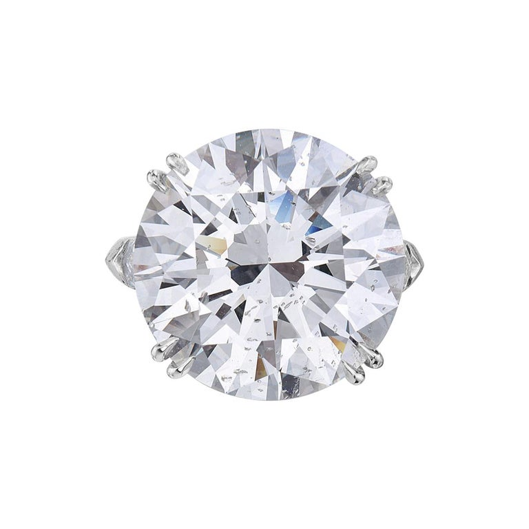 23.69 Carat I SI2 Round GIA Certified Diamond Engagement Ring For Sale