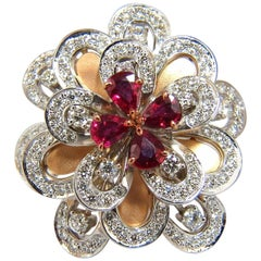 2.36ct NATURAL RUBY DIAMONDS 4 TIER 3d COCKTAIL PETAL DIAMOND RING 18KT