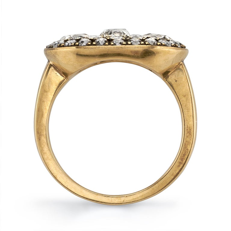 2.36 Carat Mixed Cut Diamonds Set in a Handcrafted Oxidized Yellow Gold Ring. In New Condition For Sale In Los Angeles, CA
