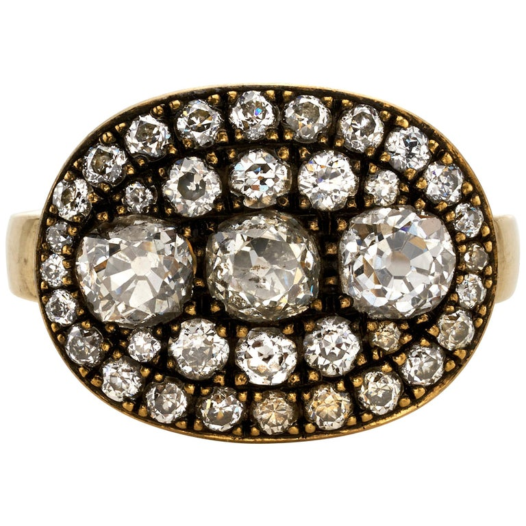 2.36 Carat Mixed Cut Diamonds Set in a Handcrafted Oxidized Yellow Gold Ring. For Sale