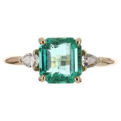 2.36tcw 14K Three Stone Claw Prong Asscher Cut & Pear Diamond Ring