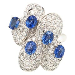 2.37 Blue Sapphire and 1.84 White Diamonds, White Gold Cocktail Ring Italy