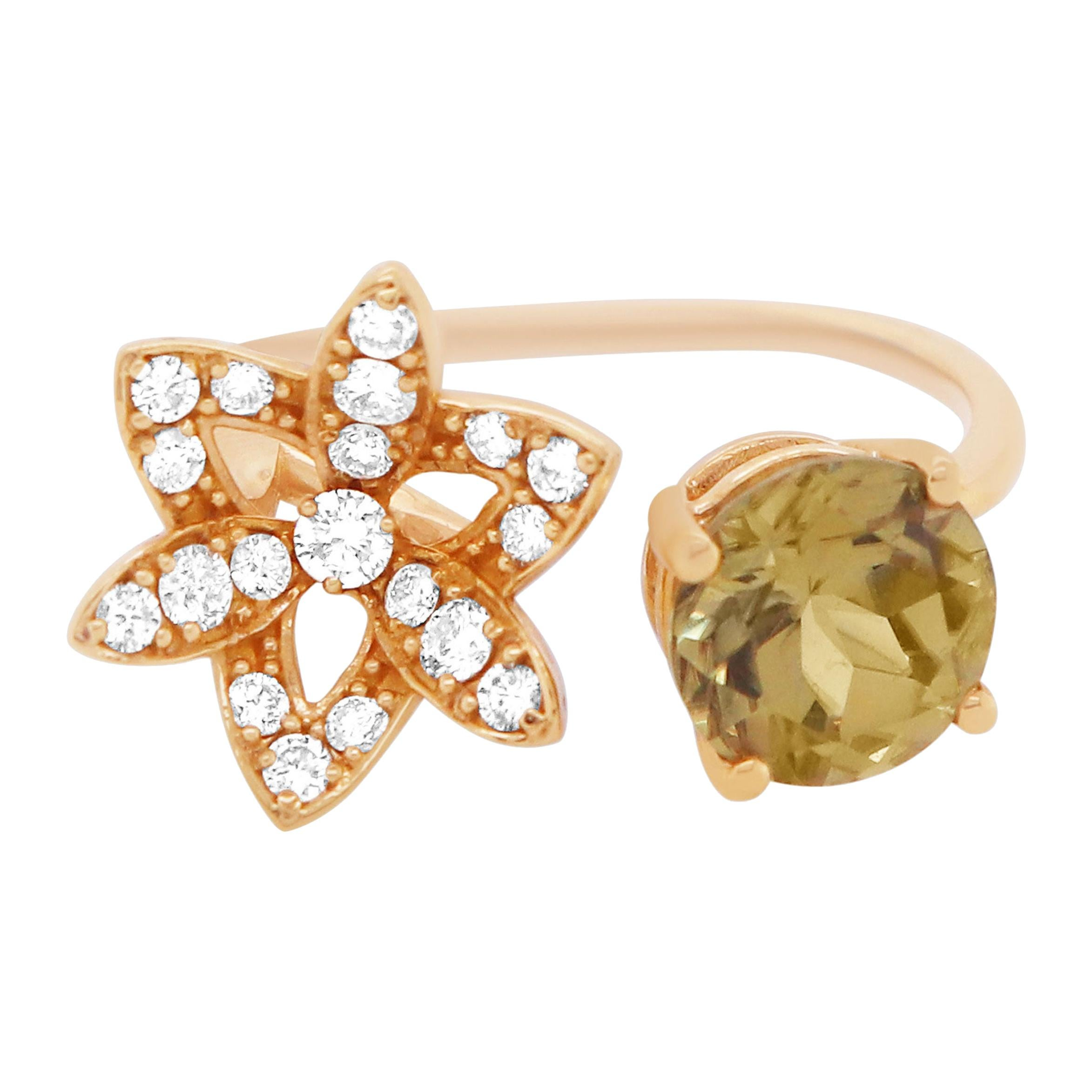 2.37 Carat Natural Color Changing Diaspore and Diamond Flower Toi et Moi Ring