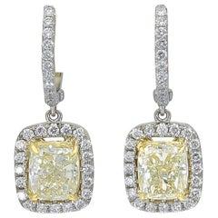 2.37 Carat Cushion Cut Yellow Diamond Halo Dangle Earrings in 18k White Gold