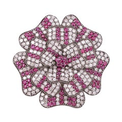 2.37 Carat Diamond and Ruby Flower Statement Fashion Ring in Victorian Style