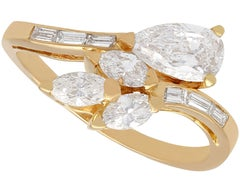 2.37 Carat Diamond and Yellow Gold French Crossover Ring
