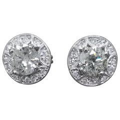 2.37 Carat Diamond Stud with Halo