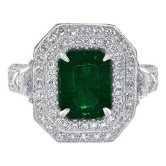 2.37 Carat Emerald and Diamond White Gold Cocktail Ring