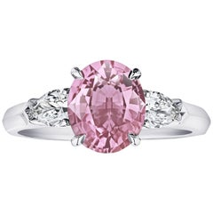 2.37 Carat Oval Padparadscha Sapphire and Diamond Ring