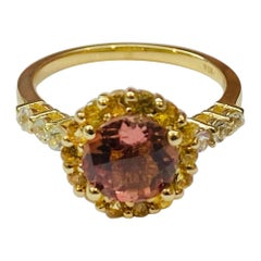 2.37 Carat Tourmaline Sapphire 14 Karat Yellow Gold Cocktail Ring