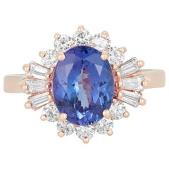 2.37 Ct Oval Tanzanite Ring with 0.25 Ct. Baguette White Diamond 14K Rose Gold