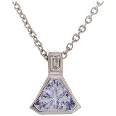 2.37 Trillion Cut Blue Ceylon Sapphire and Diamond Pendant 18 Carat White Gold