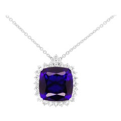 23.70 Carat Cushion Cut Tanzanite Diamond Halo Pendant Necklace 18 Karat Gold