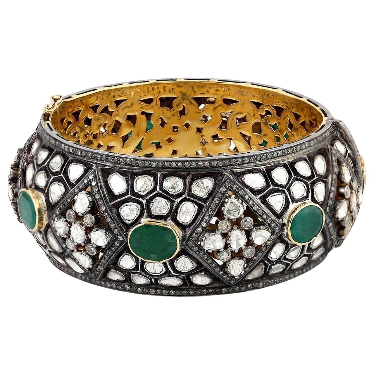 23.71 Carat Rose Cut Diamond Emerald Antique Style Bracelet Cuff