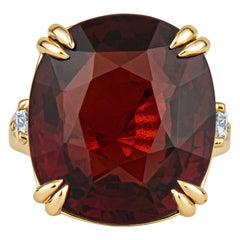 Rare 23.77 Carat Cushion Cut Spessartine Garnet, 0.48ctw in Accent Diamonds Ring