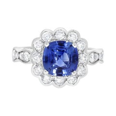 2.37ct Sapphire Ring with 0.87tct Diamonds Set in 14K White Gold
