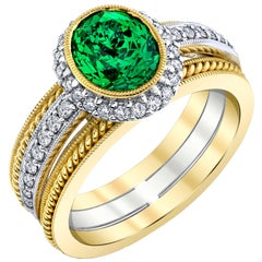 2.38 ct. Tsavorite Garnet & Diamond Halo 18k Yellow & White Gold Engagement Ring