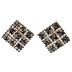 2.38 Carat Black Diamond 14 Karat Yellow Gold Earrings