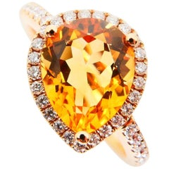 2.38 Carat Citrine and Diamond Cocktail Ring Set in Rose Gold