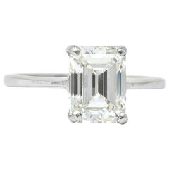 2.38 Carat Diamond Platinum Solitaire Emerald Cut Modern Engagement Ring GIA