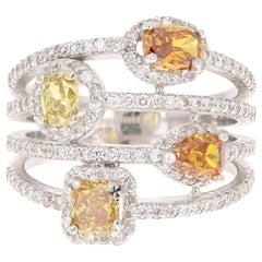 2.38 Carat Fancy Yellow Brown Diamond Cocktail Ring 14 Karat White Gold