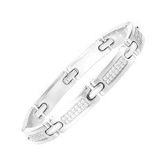 2.38 Carat Round Brilliant Cut Diamond 18 Karat White Gold Link Bracelet
