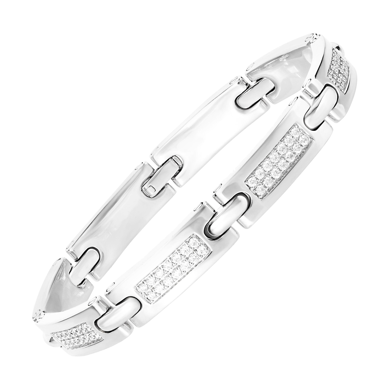 2.38 Carat Round Diamond 18 Karat White Gold Link Bracelet