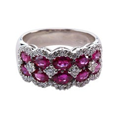 2.38 Carat Ruby and Diamond Band Ring