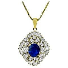 2.38 Carat Sapphire Diamond Yellow Gold Pendant Necklace