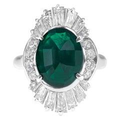 2.38 Carat Vivid Green Emerald 'Inverted' Platinum PT 900 Engagement Ring