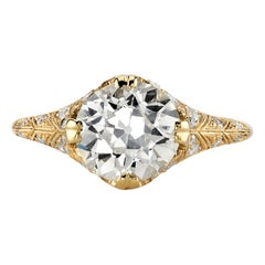 2.38 OP/VS1 GIA Certified Cushion Cut Diamond Set in a 18 Karat Gold Mounting